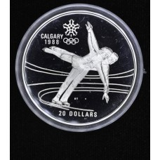 Canada $20 Dollars 1987 Proof silver KM#155 skating