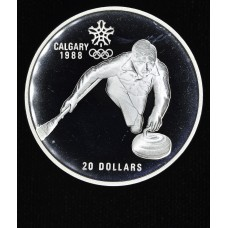 Canada $20 Dollars 1987 Proof silver KM#1156 curling