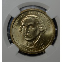 $1 One Dollar 2007 P Pres. MS65 G. Washington NGC rev struck thru