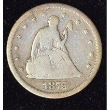 20c Twenty Cents 1875 S G4 even orig golden grey color