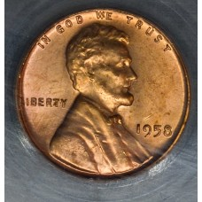 1c One Cent Penny 1958 MS64 RD Filled 8 SEGS pale gldn rd