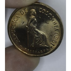 Colombia 5 Pesos 1980 MS63 bronze KM#268 gorgeous coin