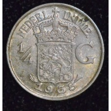Netherlands East Indies 1/4 Gulden 1943 MS64 silver KM#330 bright