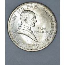 Philippines 1 Piso 1970 MS62 silver KM#202a Pope Paul 30k