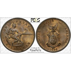 Philippines 1 Centavo 1944 S MS64 RB PCGS bronze KM#179