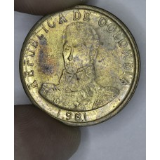 Colombia 2 Pesos 1981 MS64 bronze KM#263 rich toning