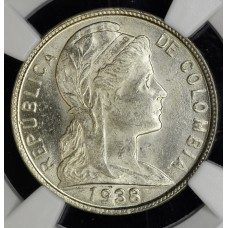 Colombia 5 Centavos 1938 B MS63 NGC CN KM#199 gem white