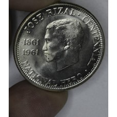Philippines 1/2 Peso 1961 MS64 silver KM#191 Frosty