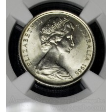 Australia 5 Cents 1966 (c) MS65 NGC CN KM#64 White Gem