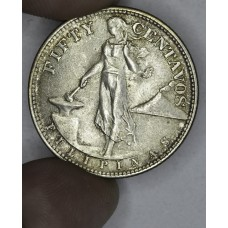 Philippines 50 Centavos 1944 S AU55 silver light tone