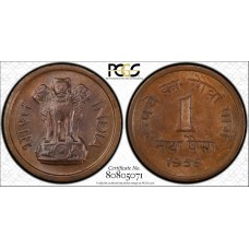 India 1 Naya Paisa 1957 C MS64 BN PCGS bronze KM#8 frosty