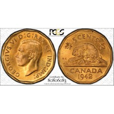 Canada 5c Cents Nickel 1942 MS63 PCGS tombac KM#39 CH