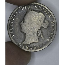 Canada 25c Cents Quarter 1872 H VG10 silver KM#5 even grey CH