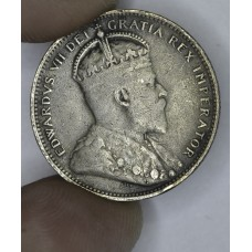 Canada 25c Cents Quarter 1907 VF25 silver KM#11 med grey