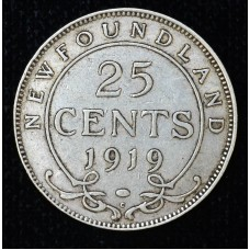 Newfoundland 25c Cent Quarter 1919 C EF45 silver KM#17 light grey CH