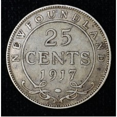 Newfoundland 25c Cent Quarter 1917 C EF45 silver KM#17 med even grey