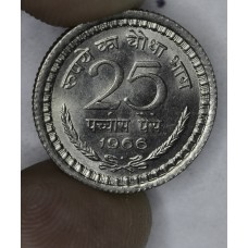 India 25 Paise 1966 MS63 nickel KM#48.2 frsty lt tn