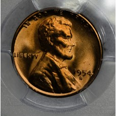 1c One Cent Penny 1954 S MS65 RD PCGS bright mint red