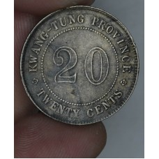 China-Kwangtung 20 Cents 9(1920) EF40 silver Y#423 luster