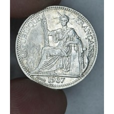 French Indochina 10 Cents 1937 AU55 silver KM#16.2 lustrous