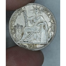 French Indochina 10 Cents 1921 AU55 silver KM#16.1 lustrous
