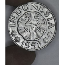 Indonesia 25 Sen 1957 MS63 alum KM#11 frsty wht