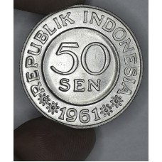 Indonesia 50 Sen 1961 MS65 alum KM#14 frsty wht
