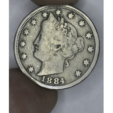 5c Nickel Five Cents 1884 F12 light gold tone full liberty