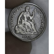 1/2 Half Dime H10C 1860 F12 even grey choice