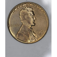 1c One Cent Penny 1961 D/D MS64 RD ANACS bright choice