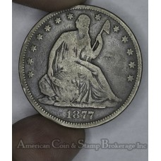 50c Cent 1/2 Half Dollar 1877 VG8-+ med gray tone popular type