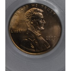 1c One Cent Penny 2000 MS65 RD Wide AM PCGS satin luster