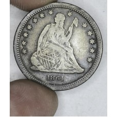 25c Cent Quarter 1861 VF25 grey w/colorful hues @ edge