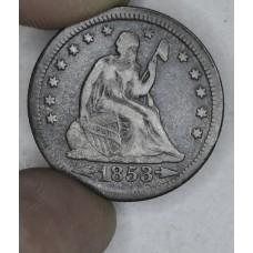 25c Cent Quarter 1853 VF25 W/Arrows & Rays even dark steel grey
