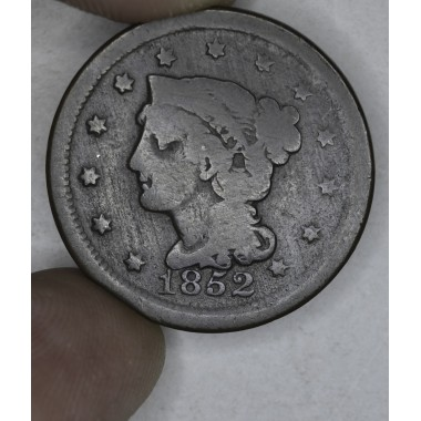1c One Cent Penny 1852 VG8 N-7 repunched 5 choc brown