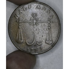 India-Bombay Presidency 1/2 Anna 1834//AH1249 VF20 copper KM#252 br