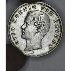 Germany-Bavaria 2 Marks 1891D EF40 silver KM#913 Otto grey