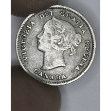 Canada 5c Cents Nickel 1891 EF40 silver KM#2 Victoria even grey