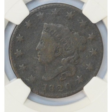 1c One Cent Penny 1820 G6 Small Date NGC Curl top 2 Nice