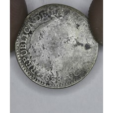 Colombia 1 Real 1838 G6 silver KM#91.1 full year