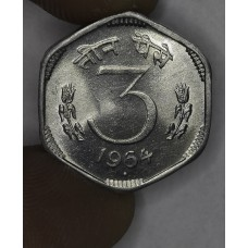 India 3 Paise 1964 (b) MS64 alum KM#14.1 frsty