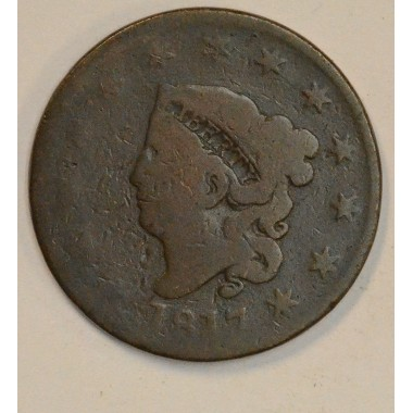 1c One Cent Penny 1817 AG3 13 Stars original chocolate tone