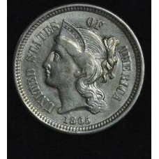 3c Three Cents 1865 Nickel AU58 lustrous frosty white