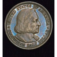 50c Cent 1/2 Half Dollar 1893 Columbian AU55 PL rich gold blue tone