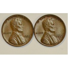 1c One Cent Penny 1953 PD UNC BN 2 coins golden bn tn