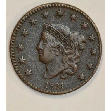 1c One Cent Penny 1831 VF20 Large Letters rich chocolate tone
