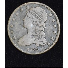 25c Cent Quarter 1835 F15 even golden grey choice
