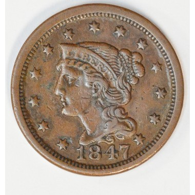 1c One Cent Penny 1847 EF40 original milk chocolate tone