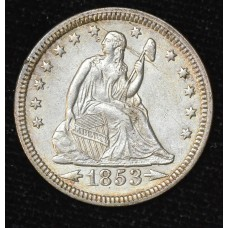 25c Cent Quarter 1853 AU53 w/Arrows Rays white edge tn CH