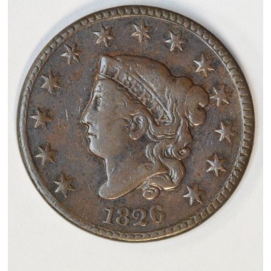 1c One Cent Penny 1826 VF30 BN even medium brown